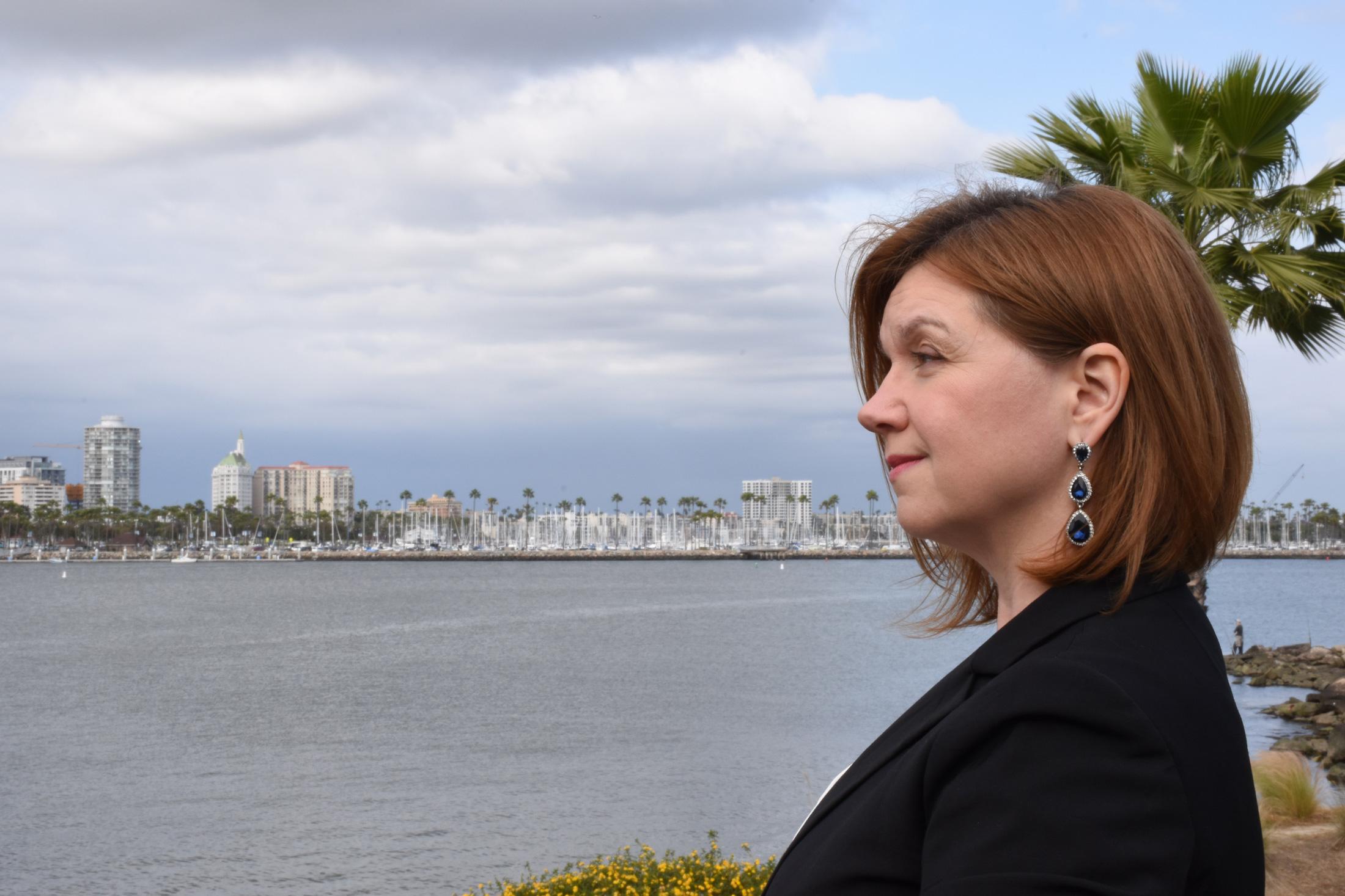 Kat looking at Long Beach shoreline
